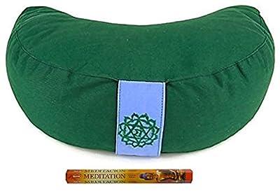 Meditationskissen Yogakissen halbmond Chakra 4 grün 33x13 cm, Inkl. 20 Meditation Räucherstäbchen, Geschenkt
