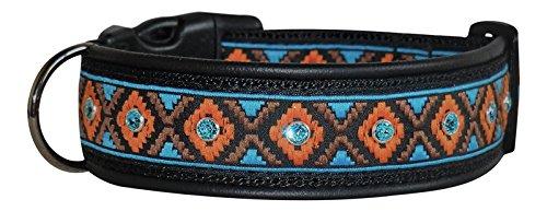 Ledustra Hundehalsband Indianer Borte Azteken Swarovski Elements Strass Leder Halsband Handarbeit Klickverschluss (38-43 cm) (Hund Foto-verzierung)