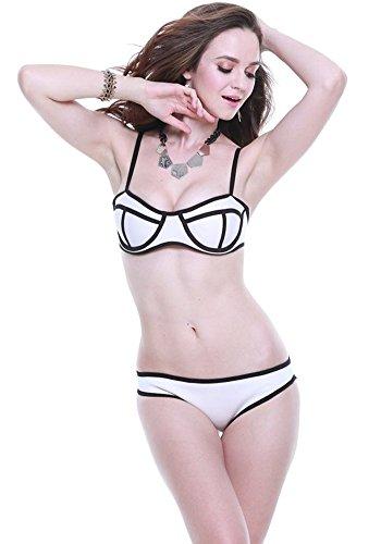 Botobkn Donne Neoprene Scafandro Costume bikini insieme Costume Brillante White