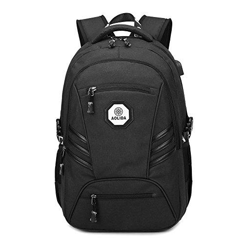 Imagen de business  para ordenador portátil de hasta 15,6 pulgadas duradero impermeable backpack  tipo casual con enchufe carga usb para mujeres y hombres para viajar y trabajar en la esc negro