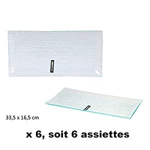 Assiettes X 6 rectangulaires 33 cm verre STRIES*