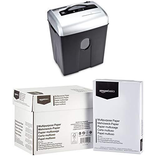 AmazonBasics Aktenvernichter, 10-12 Blatt, Kreuzschnitt, CD-Schredder  mit AmazonBasics Druckerpapier 5x500 Blatt (Amazon Basic 12 Blatt Schredder)
