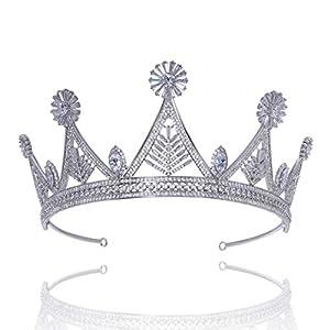Santfe Luxus 7.1cm hoch Prinzessin Diadem Braut-/Brautjungfernschmuck für Hochzeit Hochwertige CZ Zirkonia Tiara Krone aus Platiniertem Kupfer