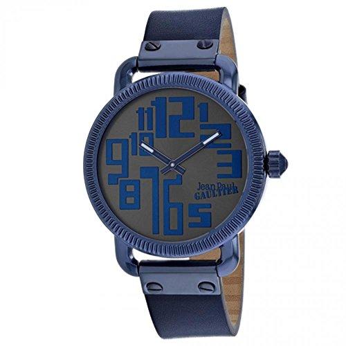 Montre Homme - Jean Paul Gaultier - Index - Acier PVD Bleu - Bracelet Cuir Noir - 45mm - 8504406