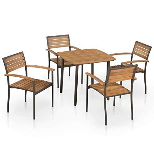 Festnight- Garten-Essgruppe 5-TLG. Set | Sitzgruppe Gartentisch Gartenstühle | Gartenmöbel aus Akazienholz Massivholz & Stahlrahmen | Garten-Set inkl. 1 Tisch + 4 Stühle