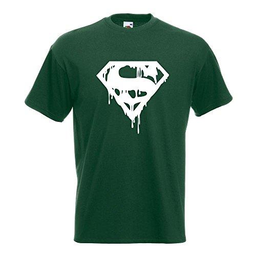 KIWISTAR - Superman Logo Shield T-Shirt in 15 verschiedenen Farben - Herren Funshirt bedruckt Design Sprüche Spruch Motive Oberteil Baumwolle Print Größe S M L XL XXL Flaschengruen