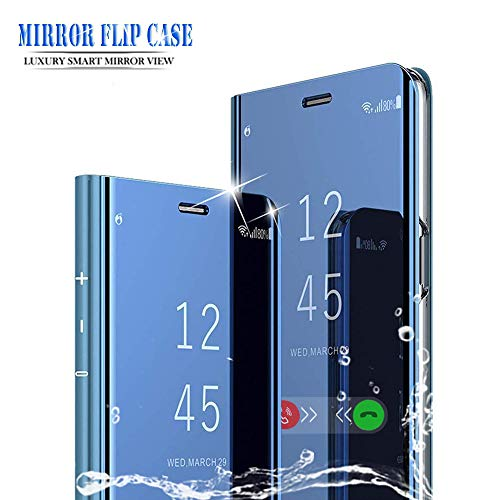 BOWFU per Huawei P Smart Z Cover,Specchio Custodia per Huawei P Smart Z, Mirror Shell Clear View Standing Flip Case Cover per Huawei P Smart Z-Blu