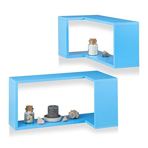 Relaxdays angolare mensola da parete, set da pezzi, libero boetta, decorativa, da appendere, camera dei bambini, design moderno, mdf, blu