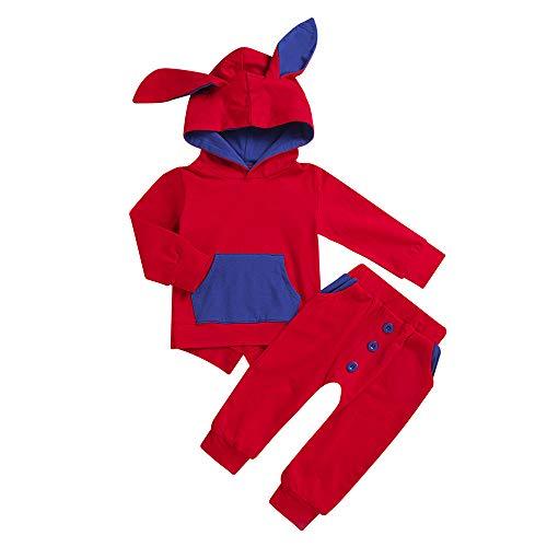 Bauycy Pullover Kinder Jungen und Mädchen Cartoon Häschenohren Kapuzenpullover Shirt + Hose zweiteilige Anzug Sweatshirt Hoodie Shirt Sport Hosen lässige Hosen -