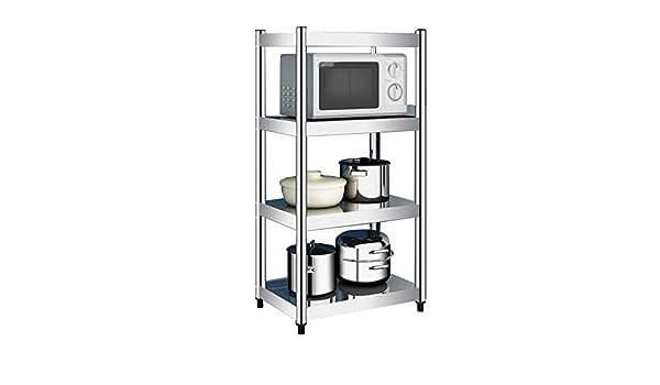 Size : 60 x 40 x 120cm Porta utensili da cucina Rack di stoccaggio per microonde a 4 Livelli ripiano per Forno a microonde in Acciaio Inox con ripiano per spezie