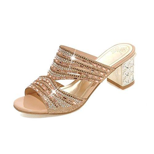 Signore adatta i sandali e ciabatte parola slittamento/Cava diamante di massima con i sandali a tacco alto-A Lunghezza piede=25.8CM(10.2Inch)
