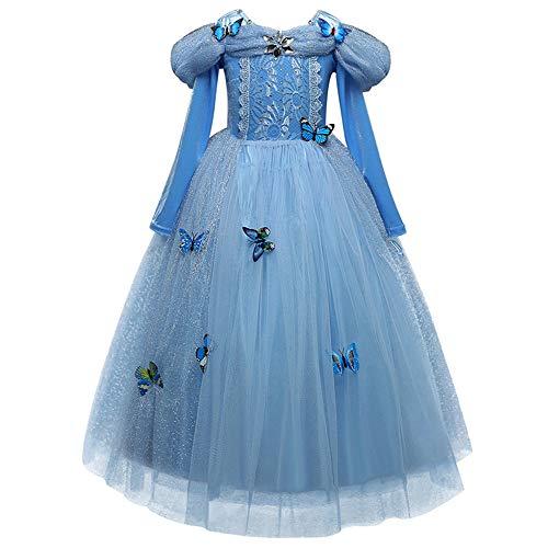 MiKia Aurora Prinzessin Kostüm, Feine Spitze Schneeflocke Cosplay Dress Up Party Halloween Abenteuer Party Aschenputtel Dress Up Für Kleine Mädchen,120cm