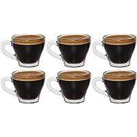 idea-station Tazas de café expreso con asas 6 piezas, 80 ml transparente, espresso y vasos moca Conjunto de 6 piezas Mocha vidrios de las tazas Mocha utilizados con mango como gafas Esprosso taza de espresso, ideal para espresso