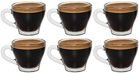 idea-station Tasses à espresso avec des poignées 6 pièces, 80 ml transparent, espresso et verres à moka Set 6 pièces Coupes Mocha Mocha verres utilisés avec la poignée en tant que verres Esprosso tasse à café expresso, idéal pour espresso