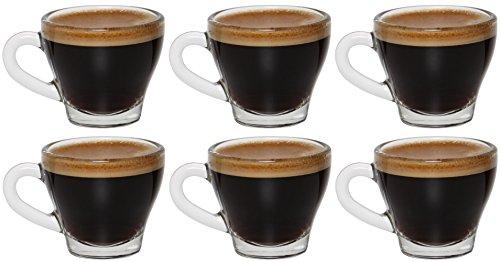 idea-station Espresso-Tassen mit Henkel 6 Stück, 80 ml transparent, Espresso und Mokka Gläser-Set 6-teilig mit Griff als Esprosso-Gläser Espresso-Cup Mokka-Tassen Mokka-Gläser einsetzbar, ideal für Espresso Shot