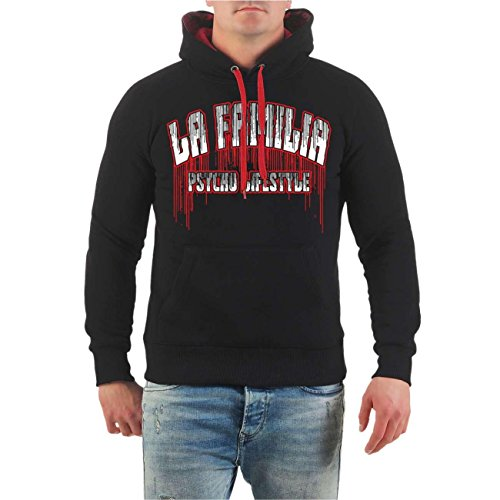 ... S - 8XL schwarz/rote Kapuze. Männer und Herren Kapuzenpullover La  Familia Nur Gott kann mich richten (mit Rückendruck) Größe