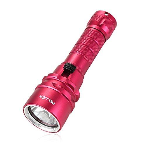 Pellor Lampe de Torche Plongée Sous-marine Jusqu'à 100m Lampe de poche étanche Rechargeable de 1600 lumens CREE XML- L2 + 1pcs 18650 Batterie + Chargeur (Avec 1 LED) - Rouge