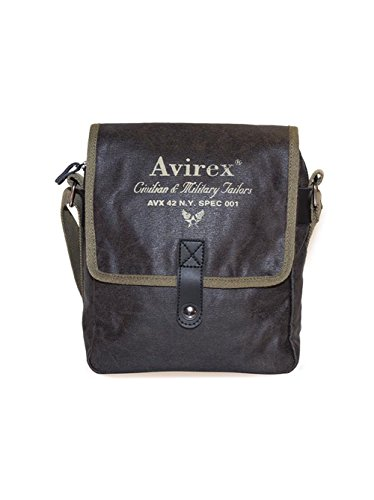 Avirex Herren Alifax Crossbody Tasche aus Leder M Dunkelgrün