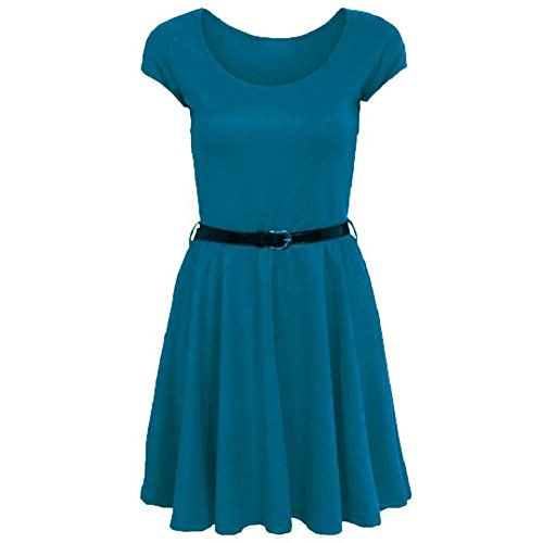 Mesdames Flared Frankie Belted Cap Skater Sleeve Dress EUR Taille 36-54 Sarcelle