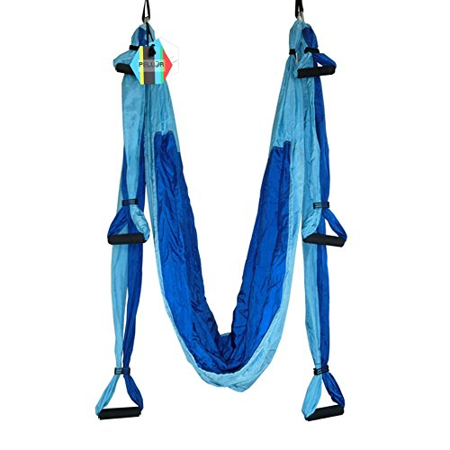 Pellor Hamaca Volar de Yoga Aérea Gimnasio Columpio con Carga de 440 lb (azul oscuro + azul celeste)