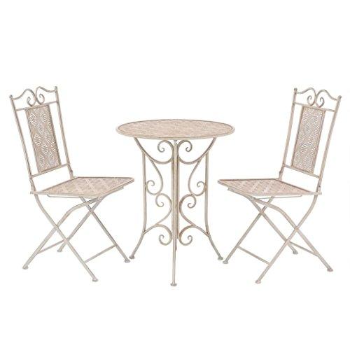 Festnight Bistroset Balkonset Balkonmöbel aus Stahl Weiß Zusammenklappbar Holz Bistro Patio Set