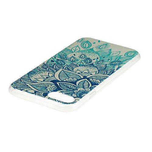 Gel Handytasche für iPhone 7,iPhone 7 Silikon Schale,CLTPY [Kratzfeste] [Stoßfest] Transparent Klar Malerei Muster Design TPU Bumper Case Deckel für iPhone 7,Ultra Dünn Super Leicht [Perfekt Passen] S Blau Blume