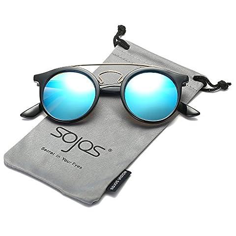 SojoS Klassische Doppelte Metallbrücken Runde Sonnenbrille für Herren Damen SJ2024 mit Schwarz Rahmen/Blau Linse