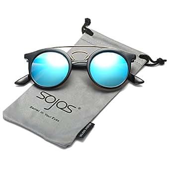 SOJOS Occhiali da Sole Rotondi Uomo e Donna Vintage Classici Doppio Ponte in Metallo SJ2024 Con Nero Telaio/Blu Specchio Lente