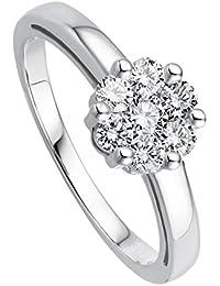 Juwelier Gelber Diamant Ring Blütenfassung 0.50ct Lupenreine Brillanten 585 Weißgold 14 Kt