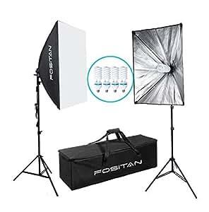 """FOSITAN 20""""X28"""" Softbox Kit 1600W 5500K Illuminazione Continuo kit Incluso 2M Light Stand e 4x E27 85W CFL Bulbs Luci Fotografiche"""