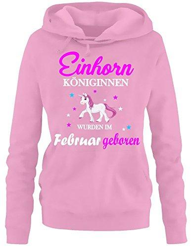 Einhorn Königinnen wurden im Februar geboren ! Damen HOODIE Sweatshirt mit Kapuze Pink, Gr.XXL