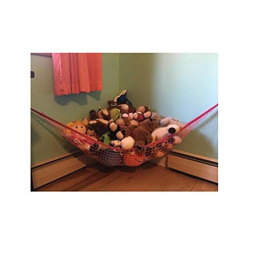 Huijukon Grand hamac d'angle avec filet de rangement pour stocker les peluches, doudous, et jouets légers | Taille: 218×152×152cm