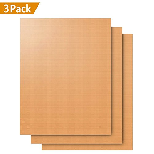 Dauerbackfolie / Backmatten wiederverwendbar 3er Set - Beidseitig verwendbar, geruchlos, ohne Silikon,nichtklebende Easy Clean (40cm x 33cm)/(Gold) von SANCENT (Weber-elektro-grill Stand)