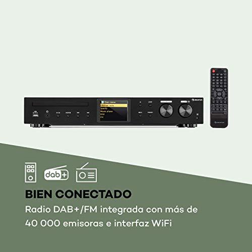 AUNA iTuner 320 BT sintonizador Digital HiFi - Función Bluetooth, Spotify Connect, WLAN, Internet, Dab+ y Radio FM, USB, Pantalla HCC, Salidas de Audio ópticas y Digitales,Mando a Distancia, Negro