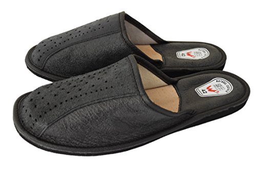 Natleat Slippers Natural Calf Leather Sheep's Wool Slippers Mules - Zapatillas de estar por casa de Piel para hombre Negro negro H5DViHkIVz