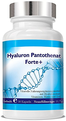 Hyaluron Pantothenat 30 Vegane Cellulose-Kapseln Hochkonzentriertes Hyaluron 1 - Monats Packung Anti Aging für Gelenke und Haut Anti Falten...