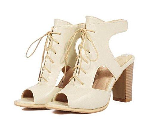 SHIXR Femmes Peep Toe Pumps Sandales à talons hauts Chaussures romaines à talons hauts Pompes sangle à la cheville beige