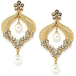 Bindhani White Cz Stone Chandbali Ethnic Drop Earrings For Girls