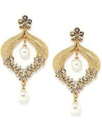 Bindhani Cz Stone Chandbali Gold-Plated Dangle & Drop Earrings For Girls