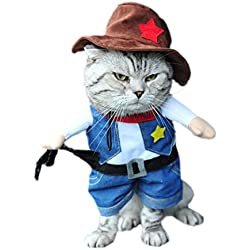 DELEY Mascota Perro Gato de Halloween Navidad Cosplay Fiesta de disfraces Disfraces de Uniformes de Ropa Vaquero M