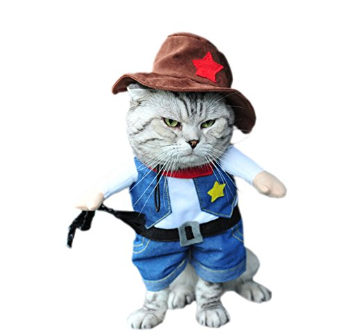 DELEY Haustier Hund Katze Halloween Weihnachten Cosplay Party Fancy Kleid Kostüm Uniform Kleidung Cowboy ()