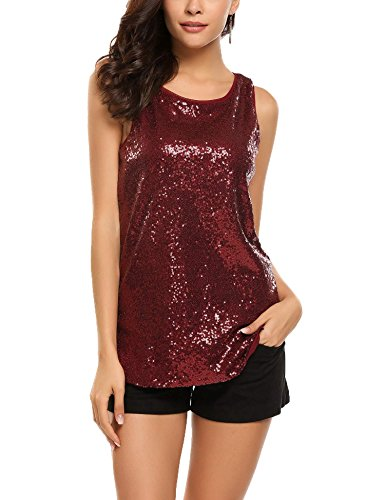 Womens Sequin Vest Tops Loose Shimmer Sleeveless T Shirt Sparkle Tank Top for Party Club Casual