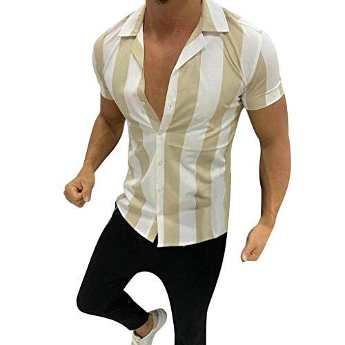 Allegorly Herren Vintage Kurzarm Gestreiftes Hemd T-Shirts Basic Tee Freizeit Oberteil Große Größen Hawaiihemd Lose Retro V-Ausschnitt Slim fit Atmungsaktiv Muskelt Shirt Tops Pullover Bluse Sommer -