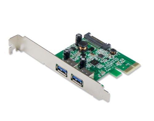 Syba PCI-Express-Karte für USB 3.0 (2 USB-3.0-Anschlüsse, PCIExpress 2.0, mit SATA-Stromanschluss)