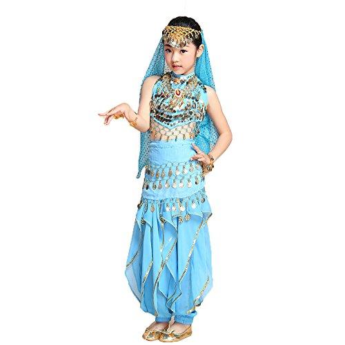 Hanerdun Elegantes Bauchtanz Kostüm Set für Mädchen Indian Dance (Kinder Tänzer Kostüme Für)