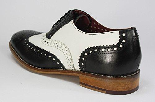 Scarpe Stringate Londra Brogue Stringate In Pelle Da Uomo Con Scarpe Brogue Da Sera Formale Wingtip Nero / Bianco