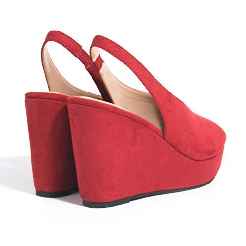 Parfois - Chaussures Sandales Compensé Rouge - Femmes Rouge