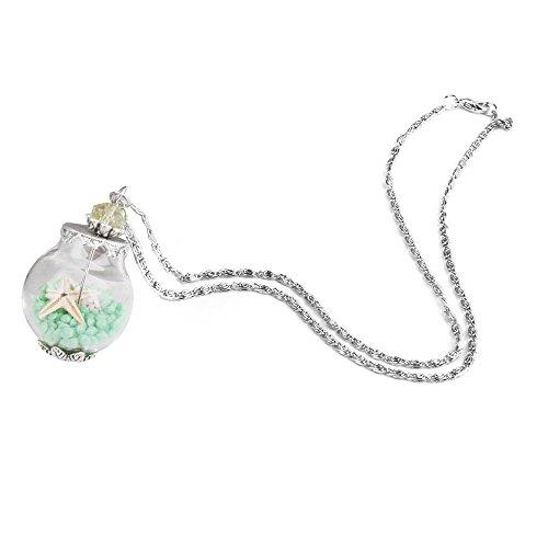 Glasflasche Anhaenger Halskette - SODIAL(R)Handmade Muschel Seestern Sanduhr Mini Wunsch Flasche Anhaenger Halskette Flaeschchen gruen