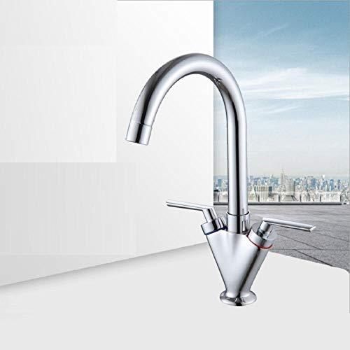 Moderne Chrom Kupfer Kaltes Warmwasser Doppelwaschbecken Mischbatterie Bad Küche Becken Wasserhahn Leuchte Home Hotel Bad-Accessoires -
