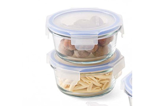 Femora Airtight Break Resistant Borosilicate Round Kitchen Food Storage Container with Lid,...